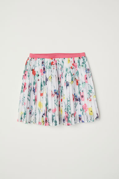 Pleated skirt - White/Patterned -  | H&M CN