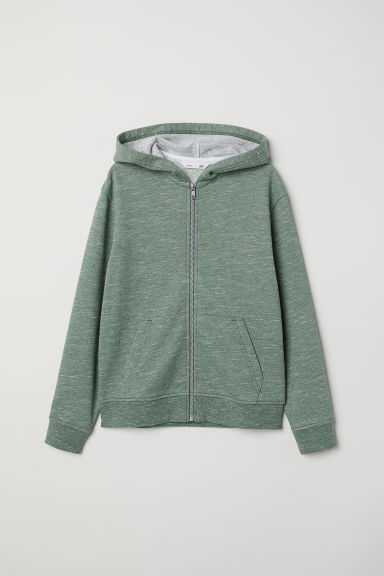 Hooded jacket - Dark green marl - Kids | H&M