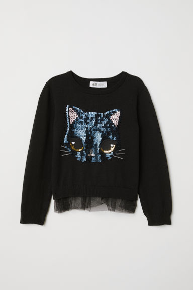 Jumper with a sequined motif - Black/Cat - Kids | H&M