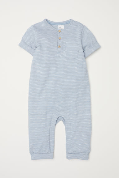 Short-sleeved romper suit - Light blue -  | H&M