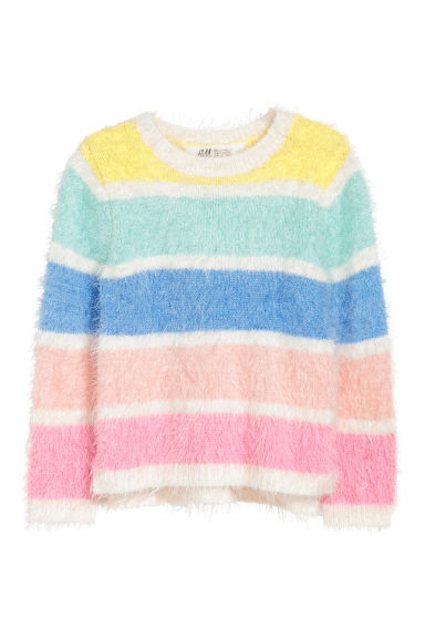 Fluffy jumper - Pink/Multicoloured stripes -  | H&M