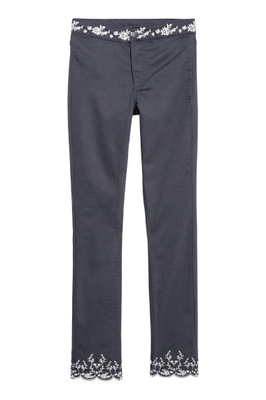 Embroidered trousers - Dark blue -  | H&M CN