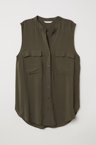 Sleeveless blouse - Dark khaki green - Ladies | H&M CN