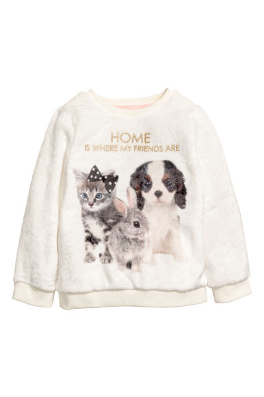 Fleece sweatshirt - Natural white/Animal - Kids | H&M
