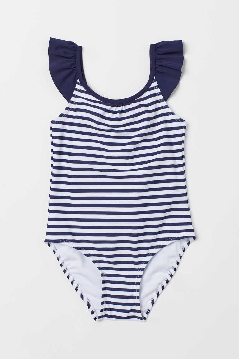 Swimsuit with frills - Dark blue/White striped - Kids | H&M