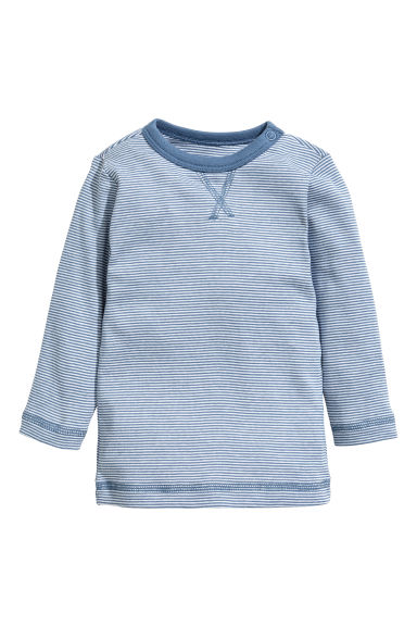 Jersey top - White/Blue striped - Kids | H&M CN