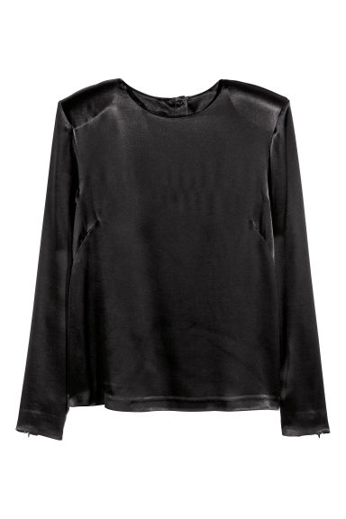 Satin top - Black - Ladies | H&M CN