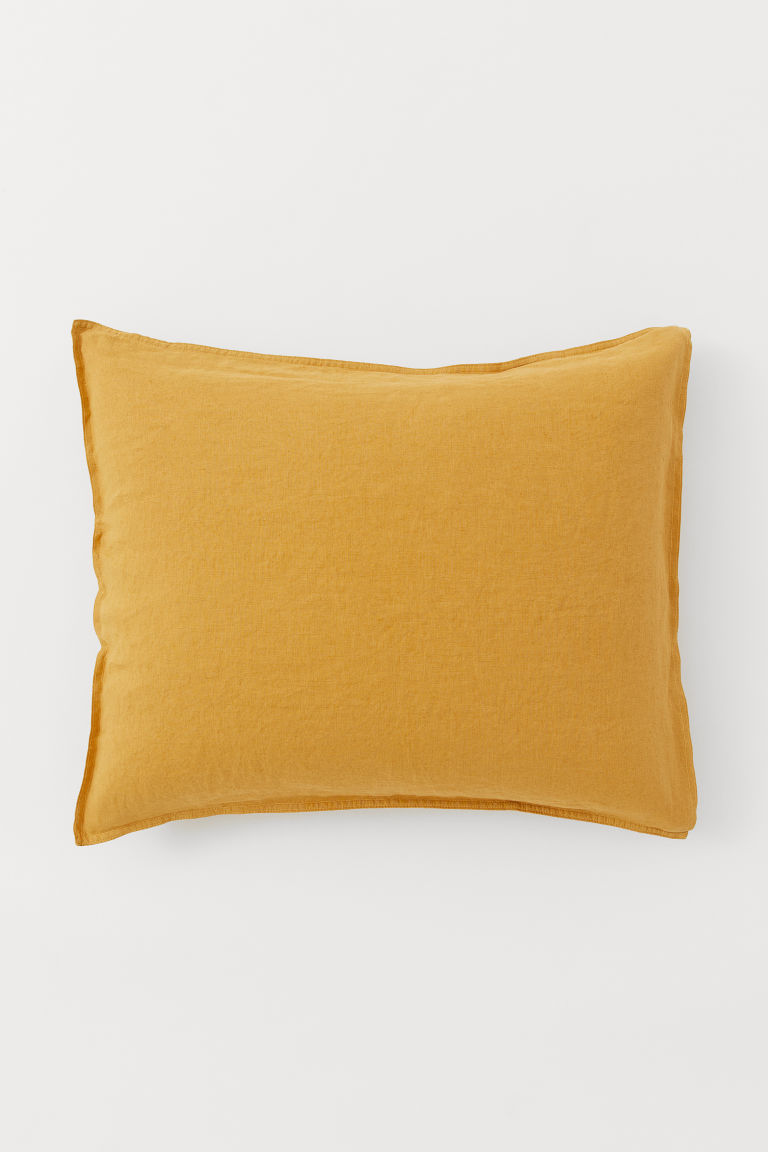 Washed linen pillowcase - Dark yellow - Home All | H&M CN