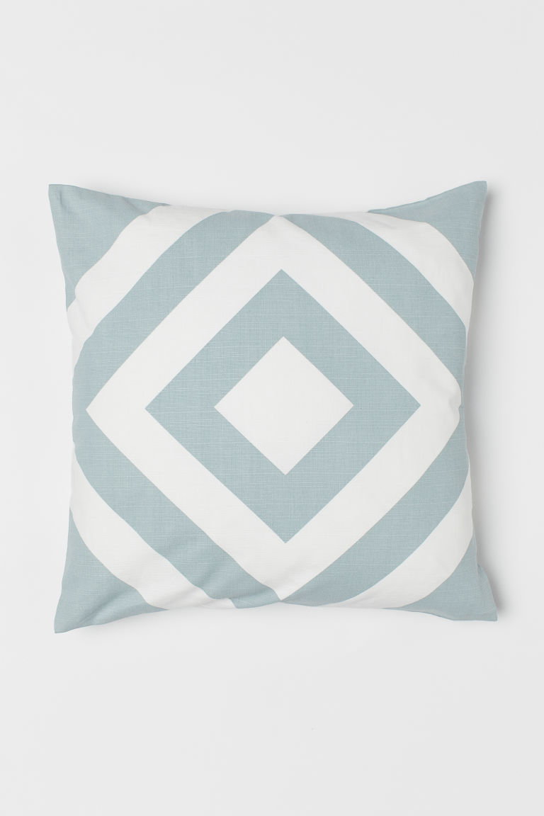 Patterned cushion cover - White/Light turquoise - Home All | H&M CN
