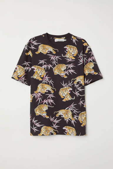 Patterned T-shirt - Black/Tigers - Men | H&M CN