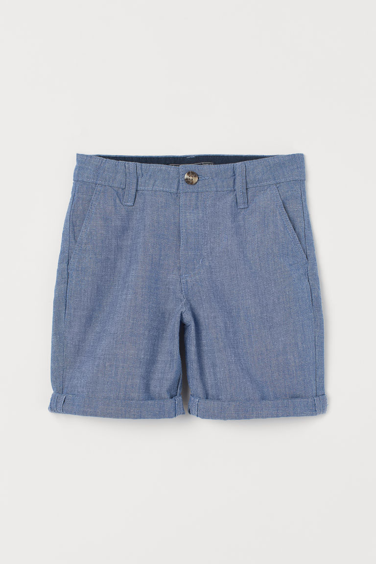 Cotton chino shorts - Blue/Chambray - Kids | H&M IE