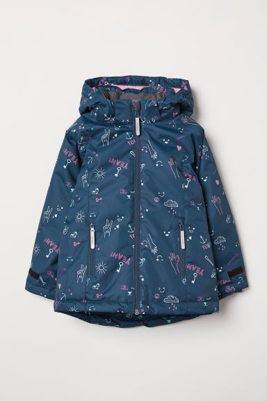 Padded outdoor jacket - Dark blue/Patterned - Kids | H&M