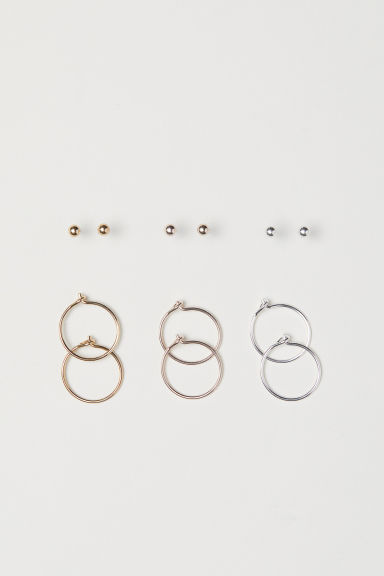 6 pairs earrings - Gold-coloured/Silver-coloured - Ladies | H&M