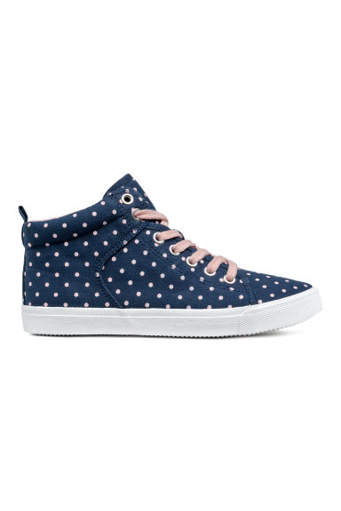 Hi-top trainers - Dark blue/Spotted - Kids | H&M CN