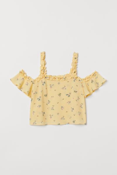 41bce8c3fb71b ... Short Open-shoulder Top - Light yellow floral - Ladies