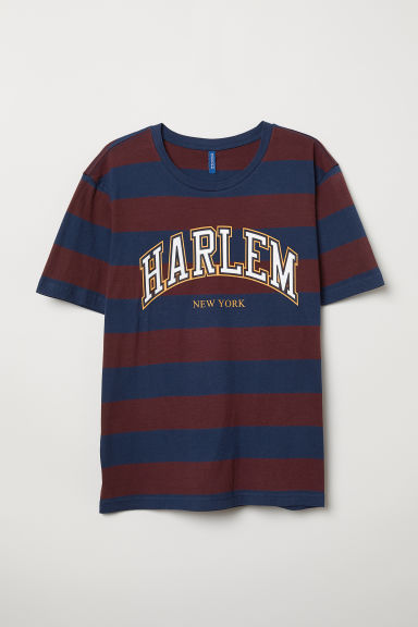 T-shirt with a motif - Dark blue/Burgundy striped - Men | H&M