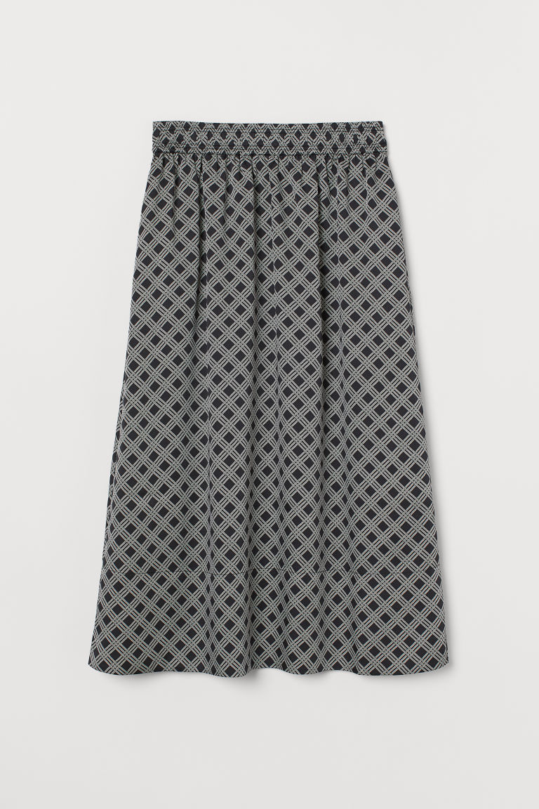Satin skirt - Black/Patterned - Ladies | H&M IE