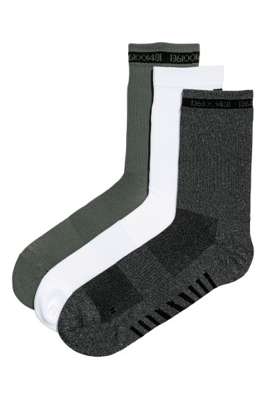 3-pack sports socks - Khaki green - Men | H&M