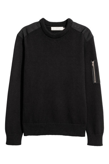 Jumper with a sleeve pocket - Black -  | H&M
