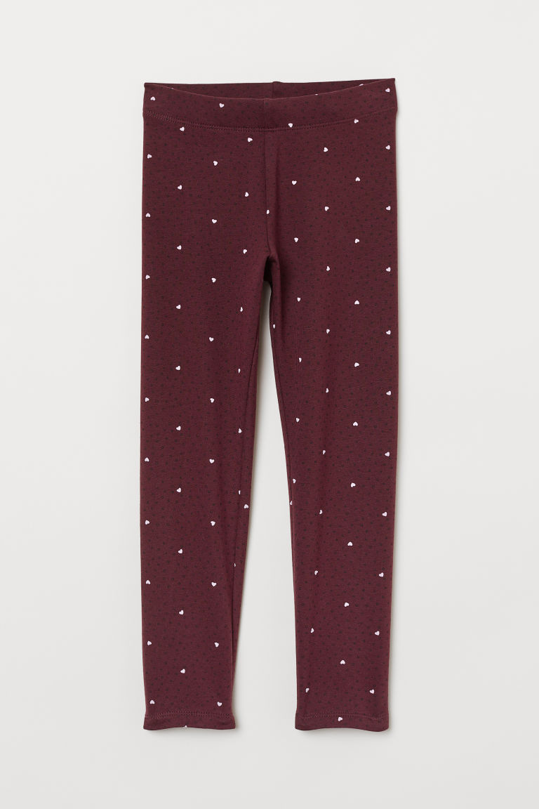 Leggings with brushed inside - Burgundy/Hearts -  | H&M CN