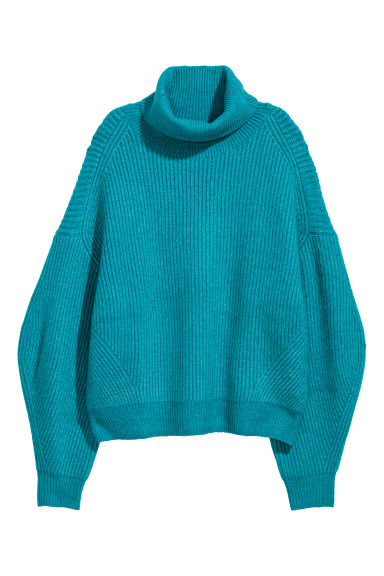 Knitted polo-neck jumper - Turquoise marl - Ladies | H&M GB