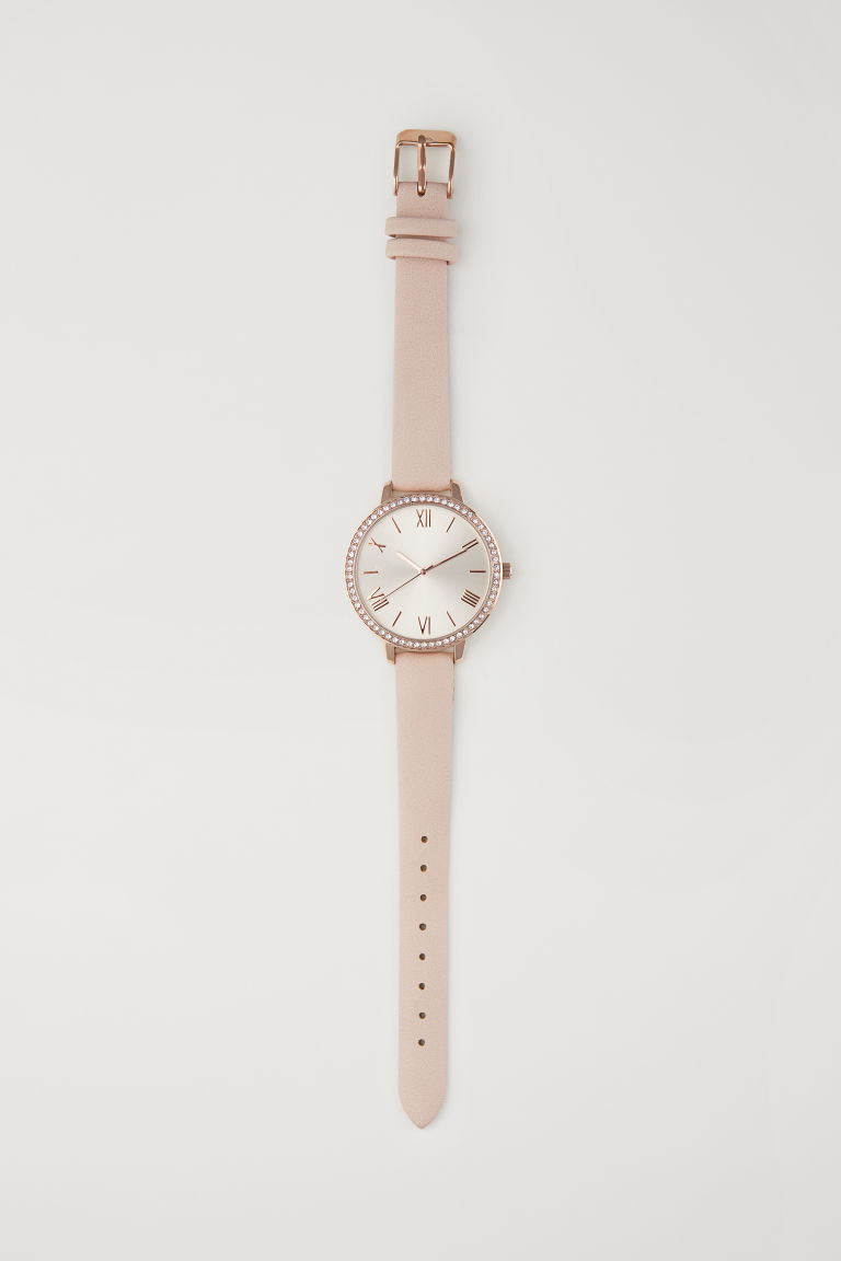Watch with sparkly stones - Powder pink - Ladies | H&M CN