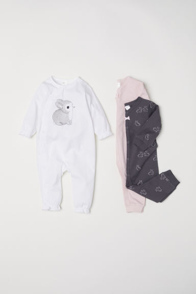 3-pack cotton pyjamas - White/Rabbit - Kids | H&M CN