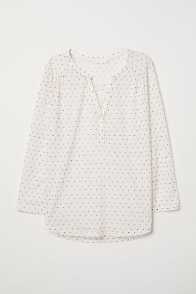 V-neck top - Natural white/Patterned - Ladies | H&M