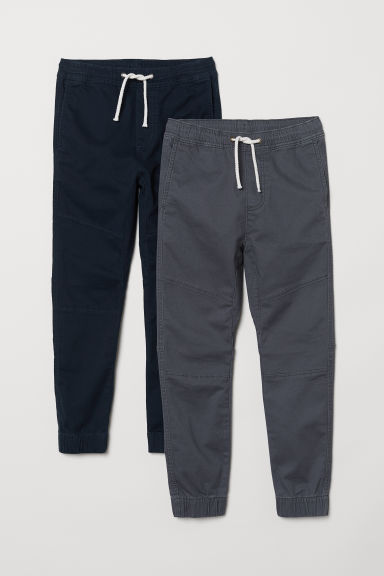 2-pack pull-on trousers - Dark grey/Dark blue - Kids | H&M