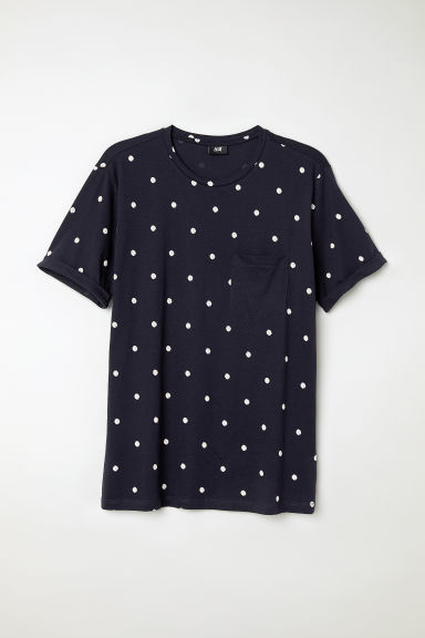 Cotton T-shirt - Dark blue/White spotted - Men | H&M