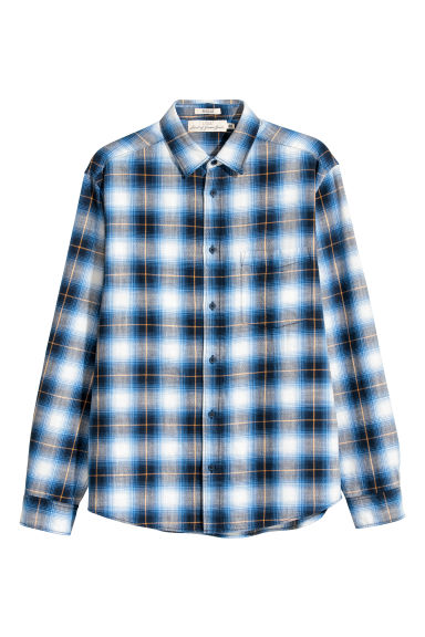 Slub-weave shirt Regular fit - Blue/Checked - Men | H&M CN