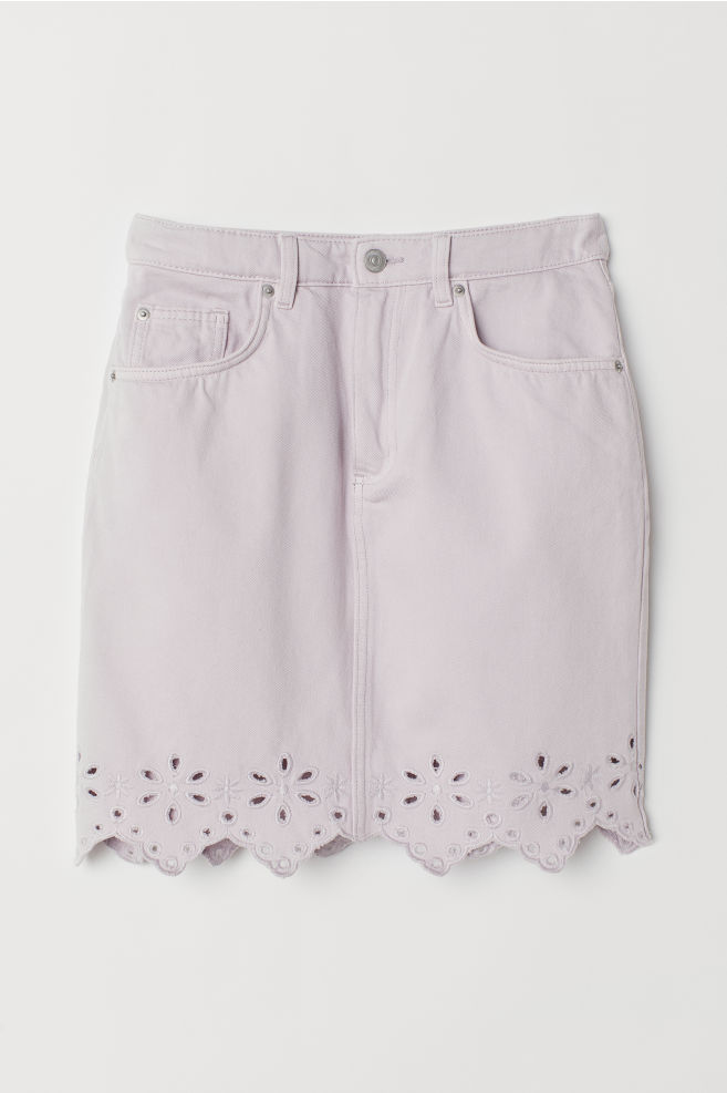 0686413010 Short Denim Skirt - Light purple - Ladies   H&M ...