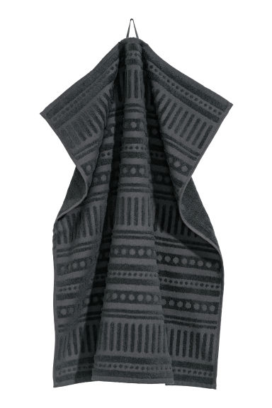 Burnout-patterned hand towel - Anthracite grey -  | H&M CN