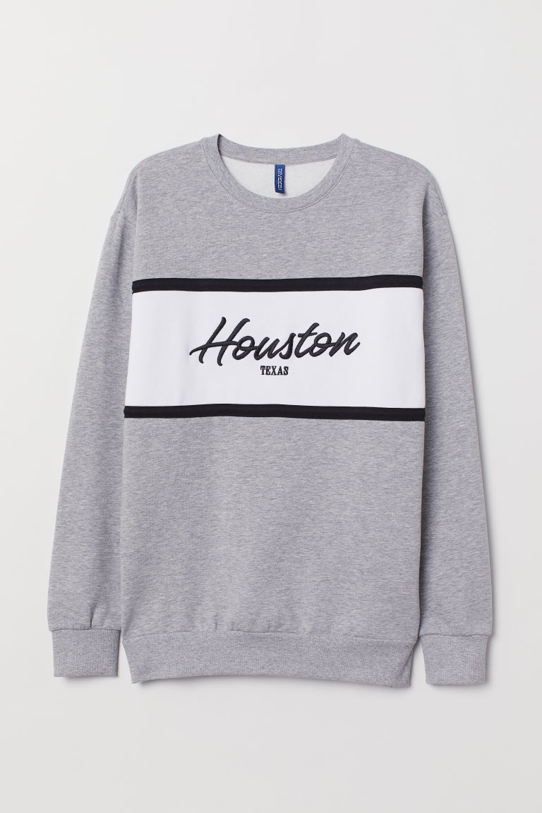 Felpa con motivo - Grigio mélange/Houston Texas - UOMO | H&M IT