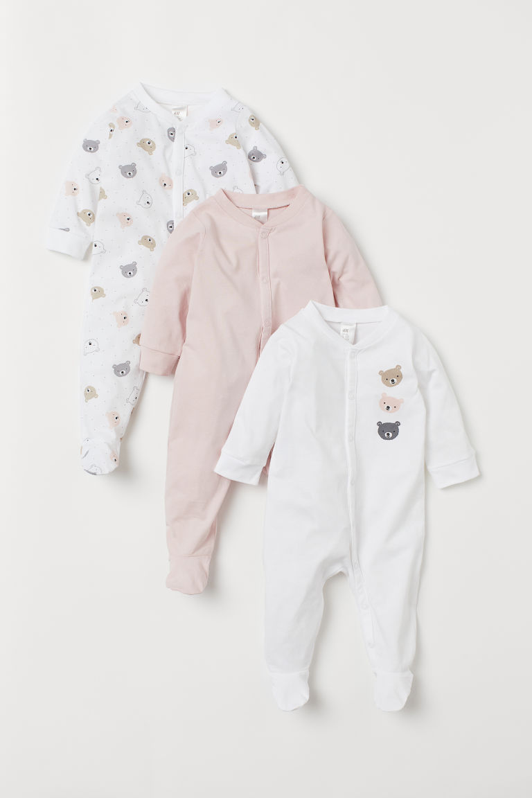 3-pack Cotton Jumpsuits - Light pink/bears - Kids | H&M CA