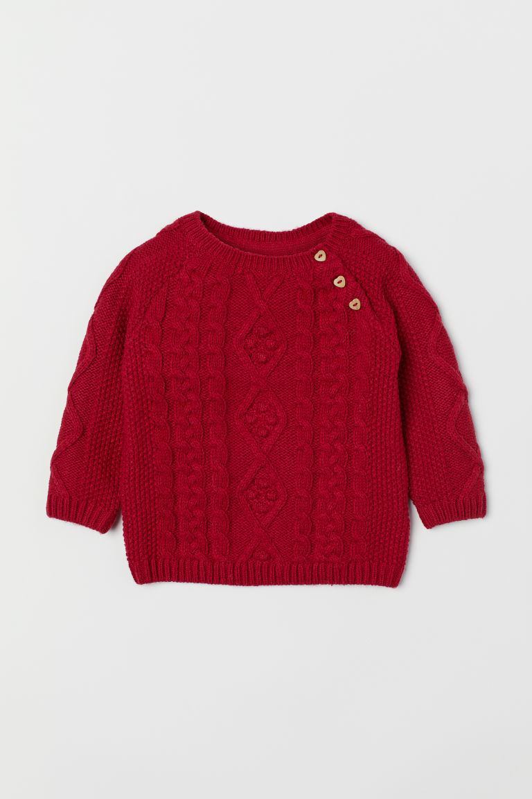 Cable-knit jumper - Dark red - Kids | H&M