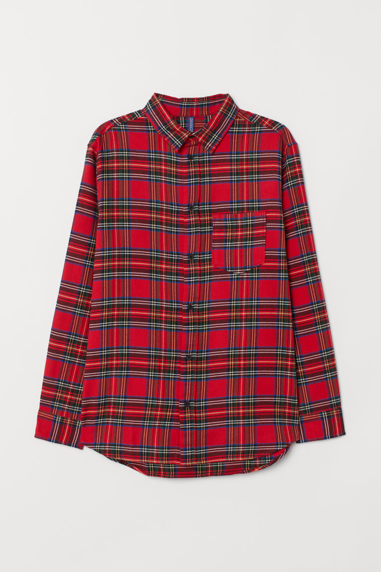 Flannel shirt - Red/Blue checked -  | H&M CN