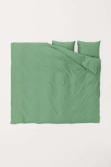 Cotton duvet cover set - Green -  | H&M CN