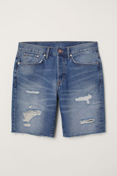 Jeansshort - Straight Fit - Denimblauw/trashed - HEREN | H&M BE