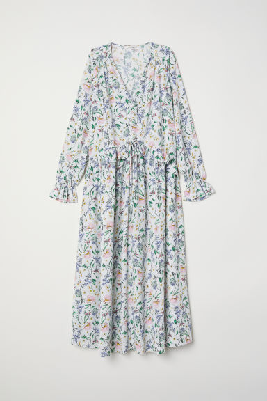 Dress with a flounce - White/Floral - Ladies | H&M