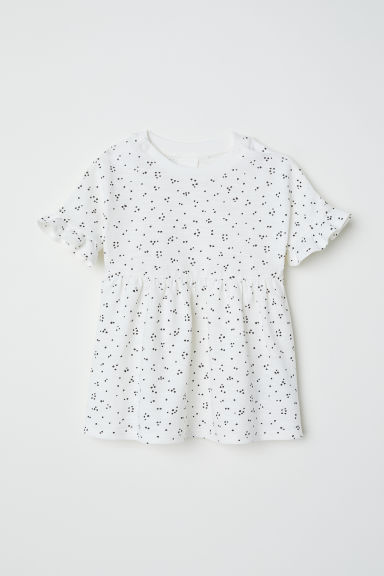 Jersey dress with a frill - White/Spotted -  | H&M CN