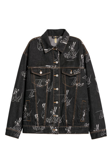Oversized denim jacket - Black denim/Disney - Ladies | H&M GB