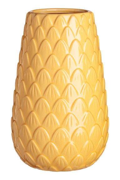 Tall stoneware vase - Yellow -  | H&M CN