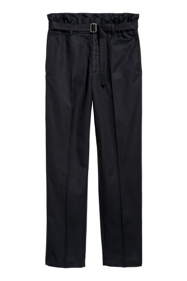 Lyocell-blend twill trousers - Dark blue -  | H&M