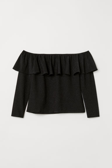 H&M+ Off-the-shoulder top - Black/Glittery - Ladies | H&M CN
