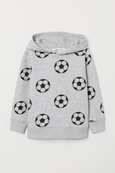 Patterned hooded top - Light grey marl/Footballs - Kids | H&M CN