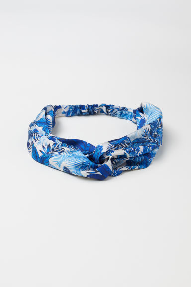 Hairband with a knot-detail - White/Blue patterned -  | H&M CN