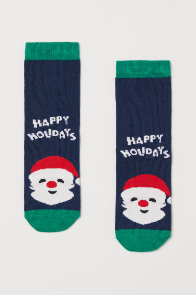 Socks with a motif - Dark blue/Santa - Kids | H&M