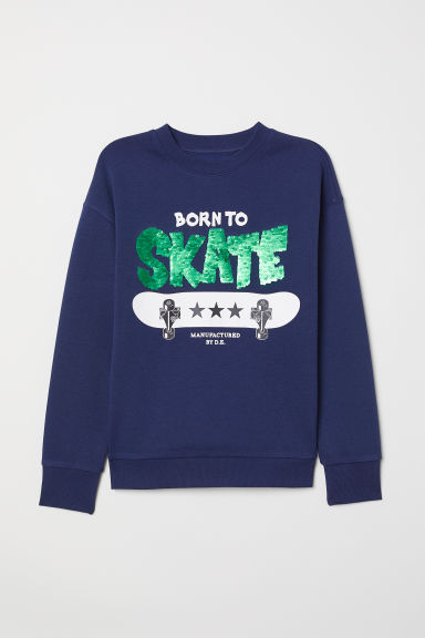 Sweater met pailletten - Donkerblauw/Born To Skate - KINDEREN | H&M BE