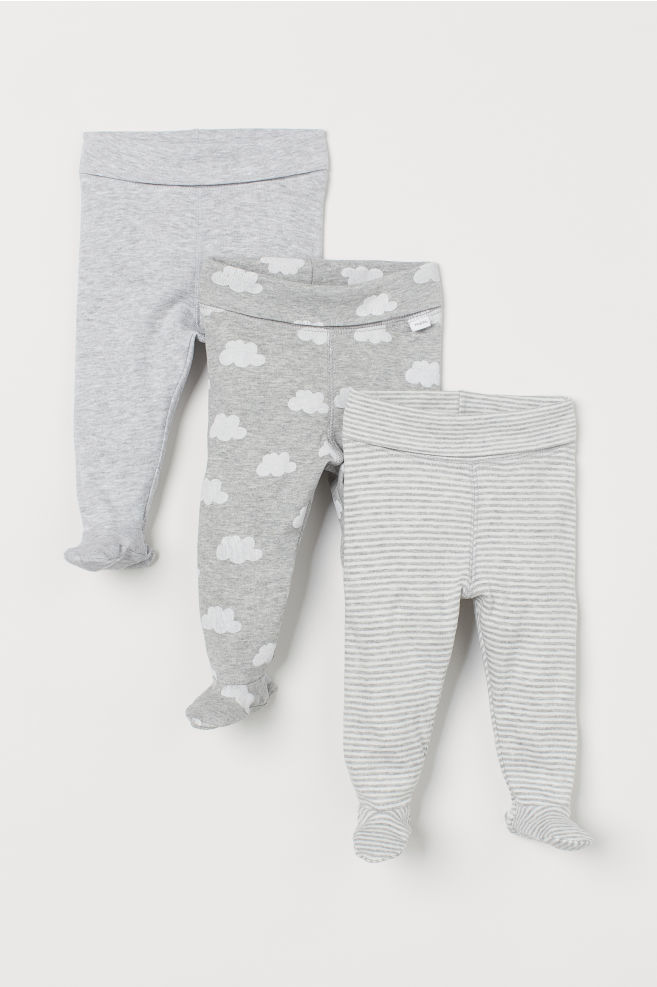 77591ef34 3-pack leggings - Light grey marl Clouds - Kids